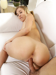 Lusty cute student Haley Reed peels off her miniskirt and takes her lover for a stiffie ride in her creamy bald pussy