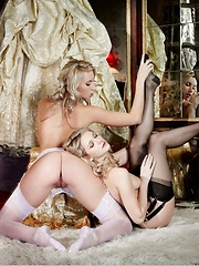 Highly stylized photos of erotic duo in budoir outfits.