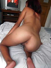 Skinny dark-skinned Filipina babe experiences foreign cock