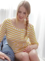 Hot russian blond girl gets her ass creampied