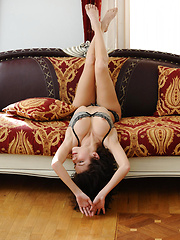 With her gorgeous luscious body, Elsa undress her sexy lingerie and flaunts her best asset all over the sofa, her warm, vivacious smile brightens up the whole room.