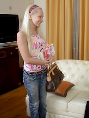 Sexy Missy pounded wildly on teacher's couch.
