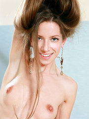 Mika A's bright yello dress matches her pretty girl-next-door personality, her dazzling blue eyes and sweet charming smile so beguiling as she starts showcasing her nubile body with fresh, moist pussy.