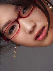 Noriko Kijima Asian is erotic doctor with red fishnets and specs