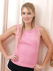Schoolgirl Jewel wearing nothing but her pink Chucks