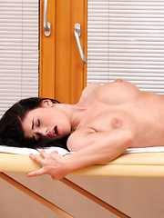 Big breasted babe Lucy Li enjoys a wet massage and seduces her man for a long raunchy fuck fest in her tight bald pussy