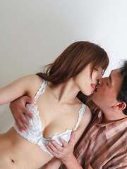 Kaede Kyomoto Asian with big cans knows how to offer hot blowjob