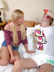 Guy boning a horny teenage blonde beauty hardcore in her bed