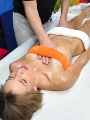 Natasha seduced and fucked hard by her massage therapist