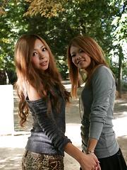 Nasty gal with Tsubasa and Kanon outdoor